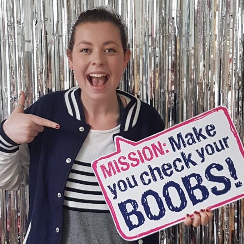 Sophie was able to catch her breast cancer early thanks to CoppaFeel!'s awareness campaigns alerting people to carry out a regular boob check.