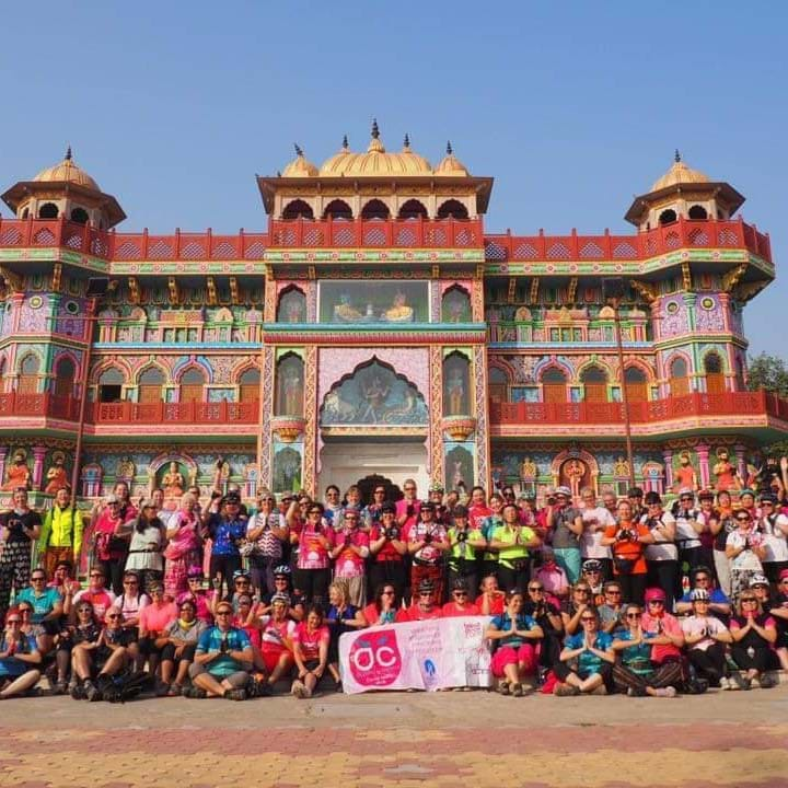 Women V Cancer Cycle India group celebration photo in front of temple