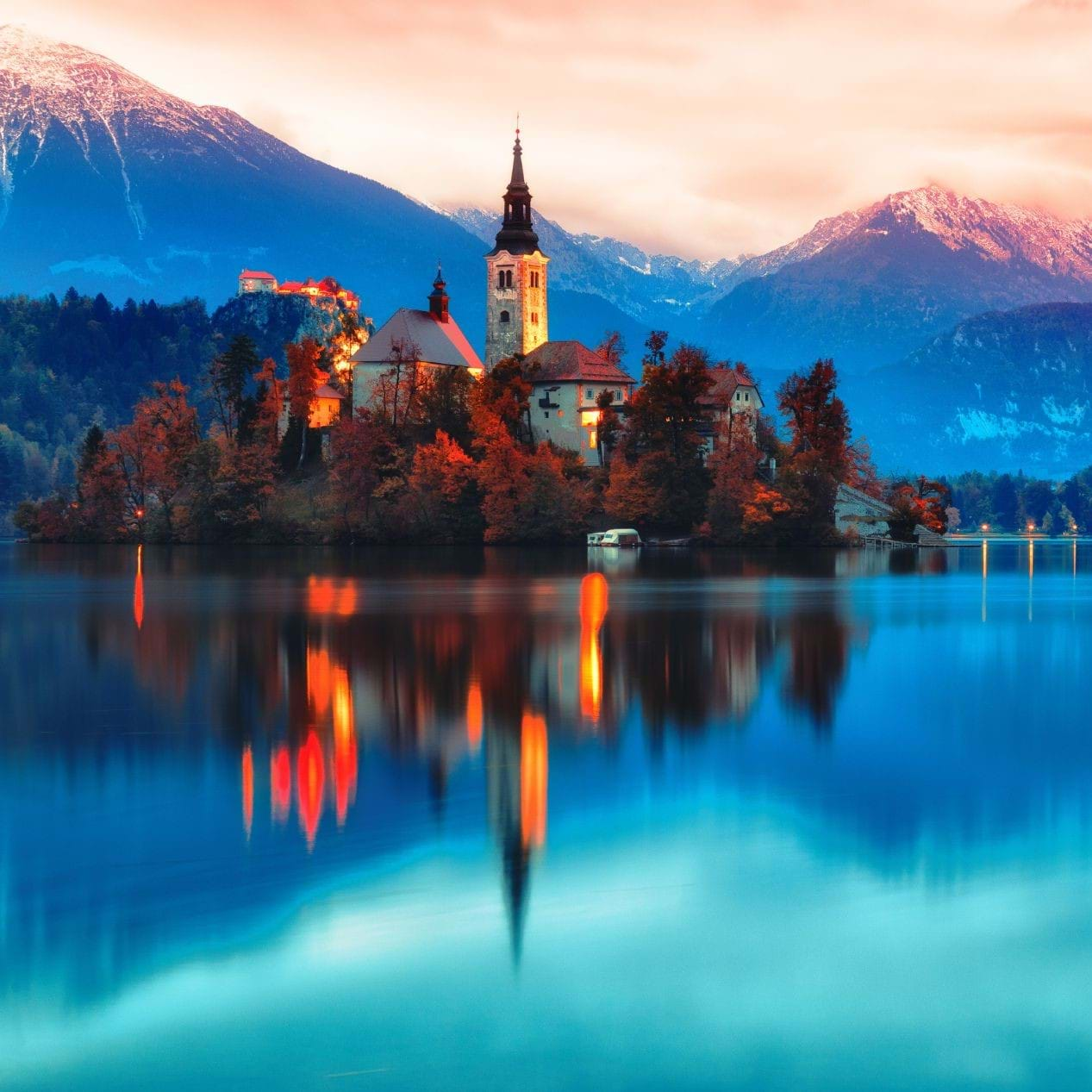 Lake Bled at sunset in Slovenia