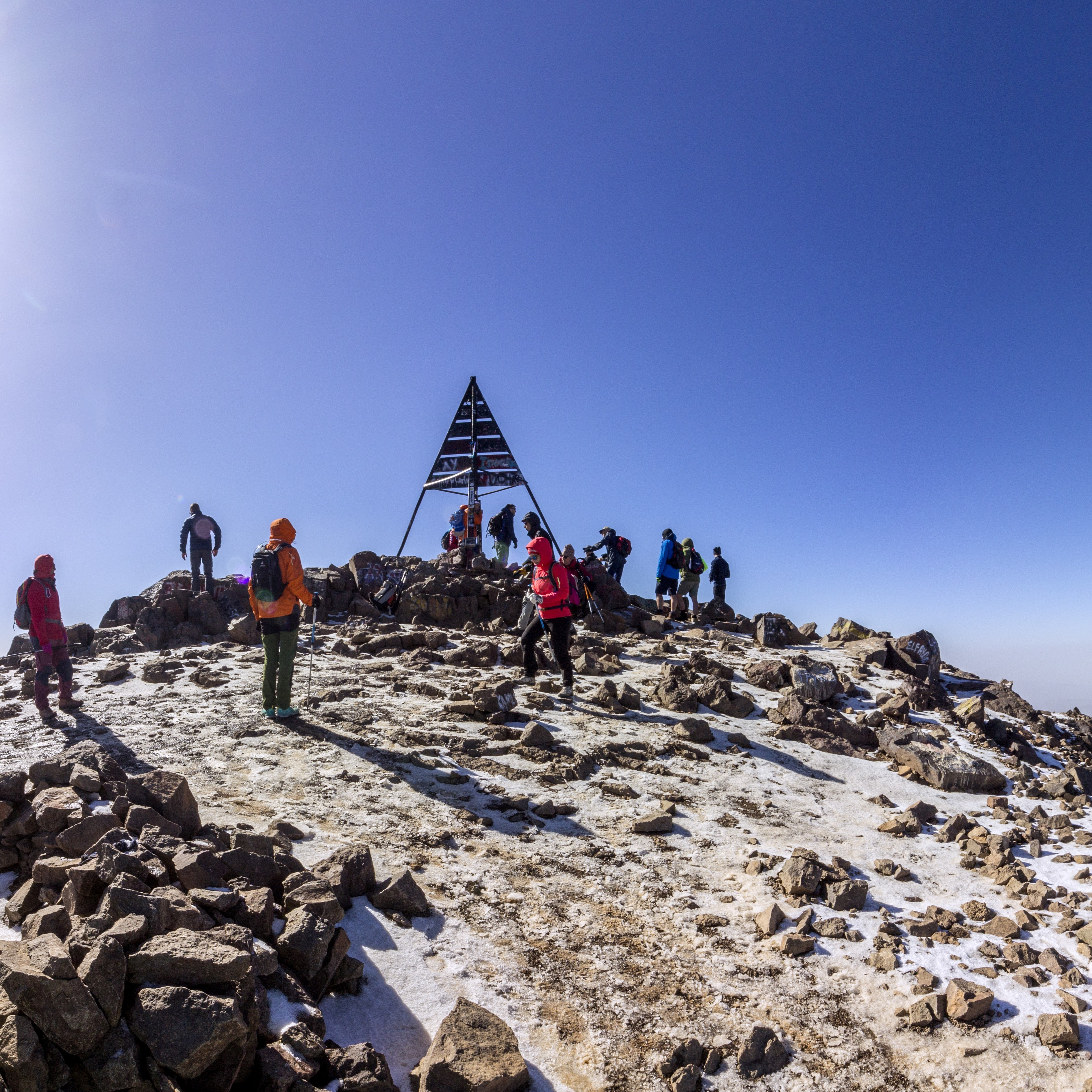 summit of Mount Toubkal in the High Atlas Mountains in Morocco