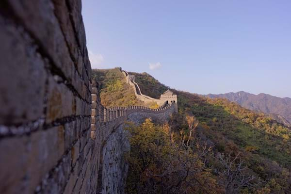 Great Wall of China close up sunset