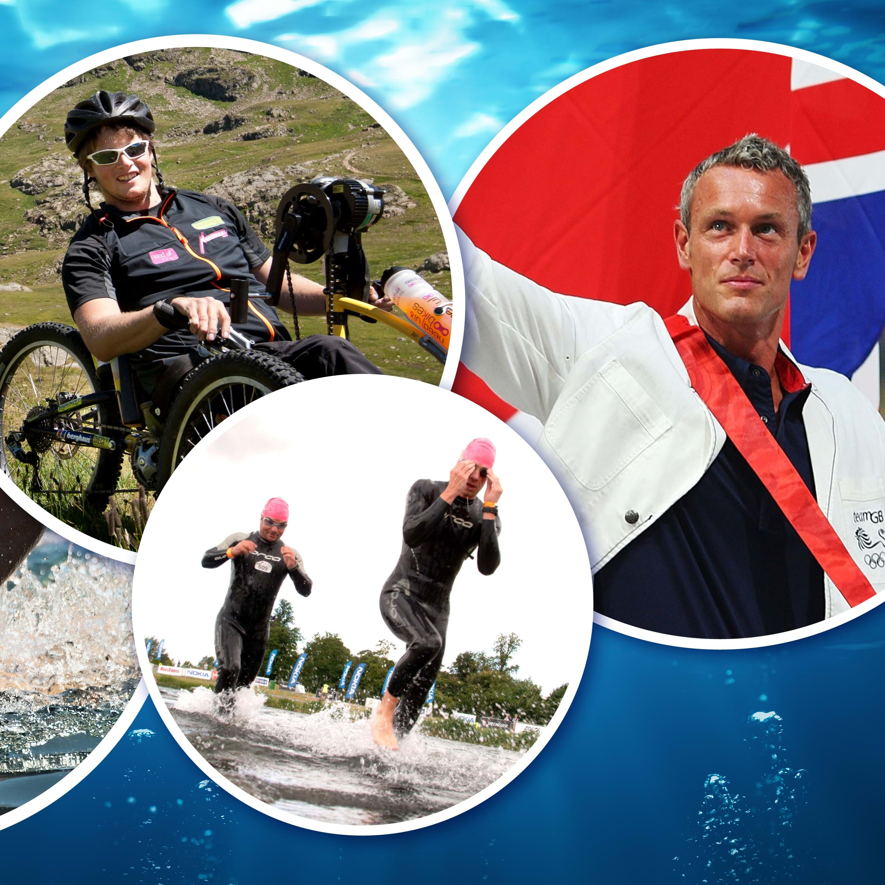 In at the Deep End 2020 banner, with images of swimmers in wetsuits at the Eton Dorney Lake, GB Olympic Swimmer, Mark Foster and tetraplegics
