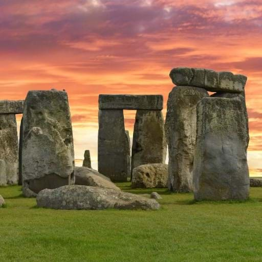 Stonehenge ancient archaeological site at sunset