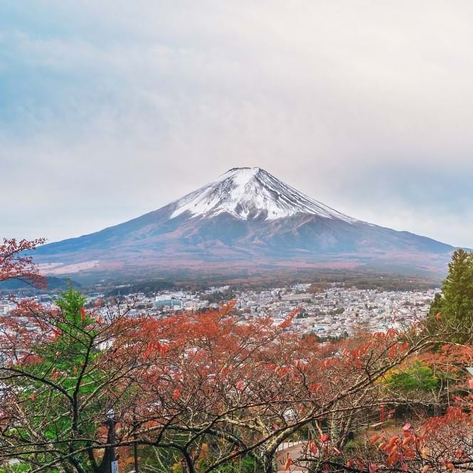 View of Mount Fuji with Japanese tower