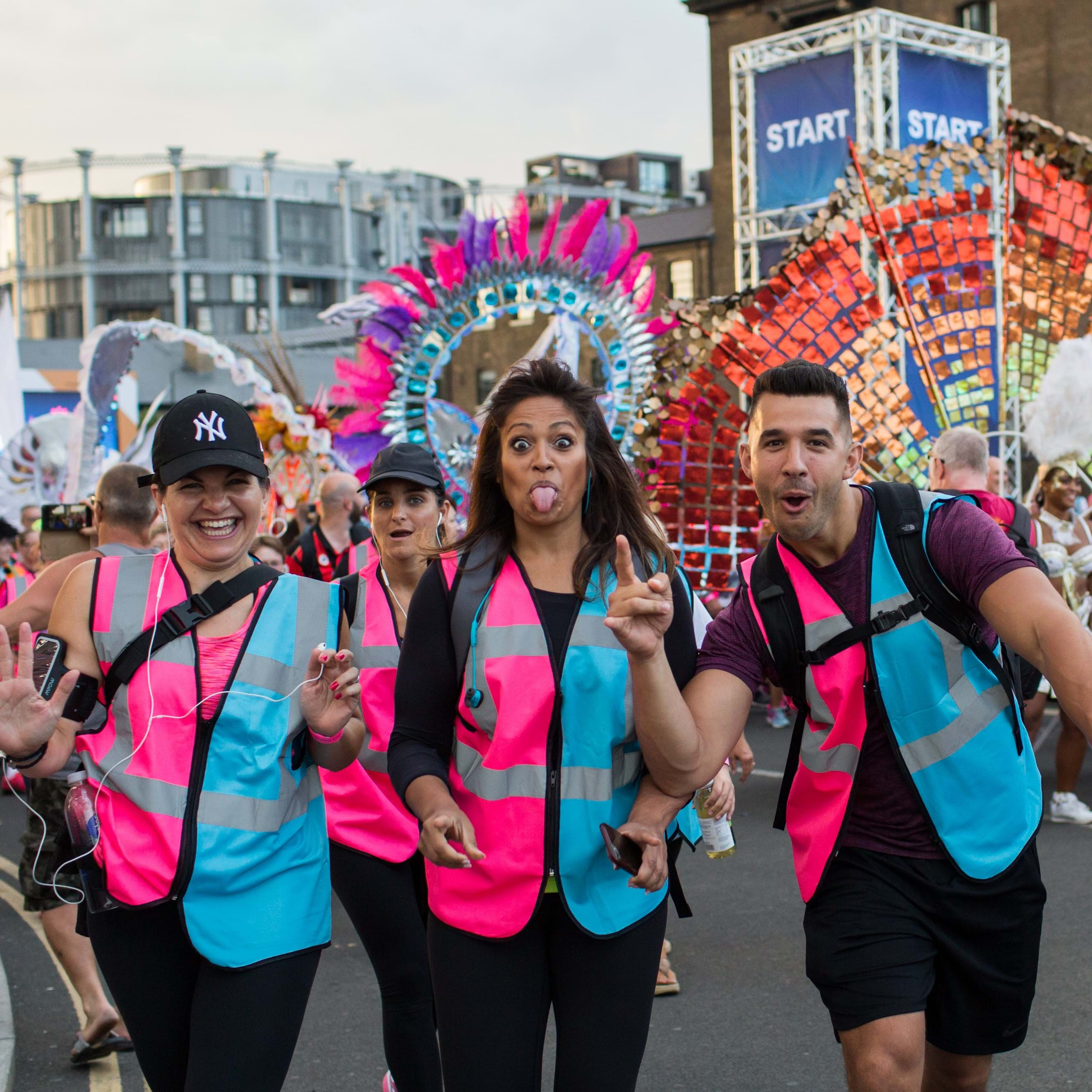 participants setting off from King's Cross for the charity night marathon through London, Walk the Night
