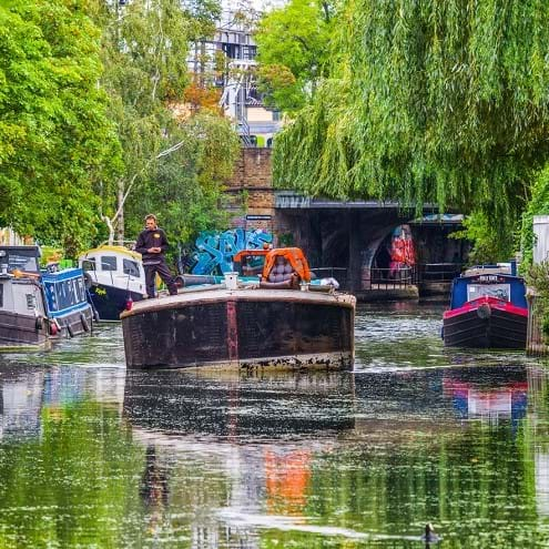 Canal boats on the River Thames