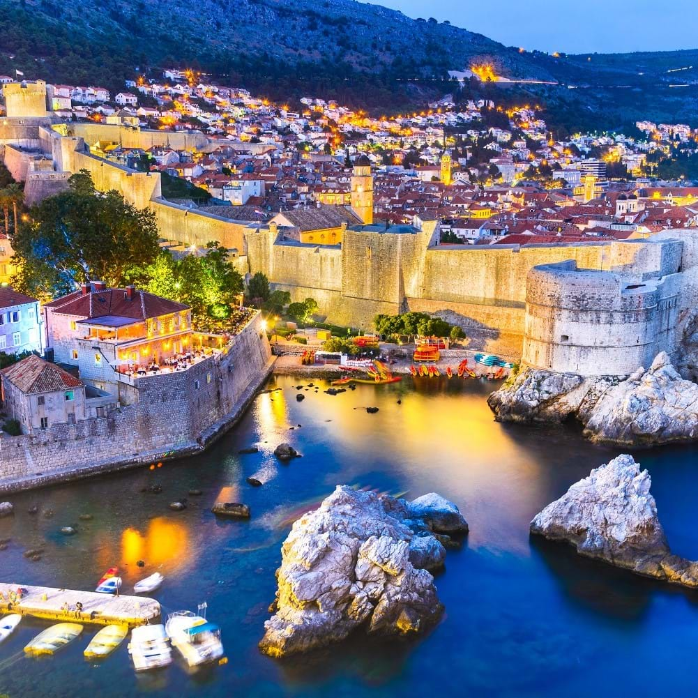 Dubrovnik Croatia lights at dusk